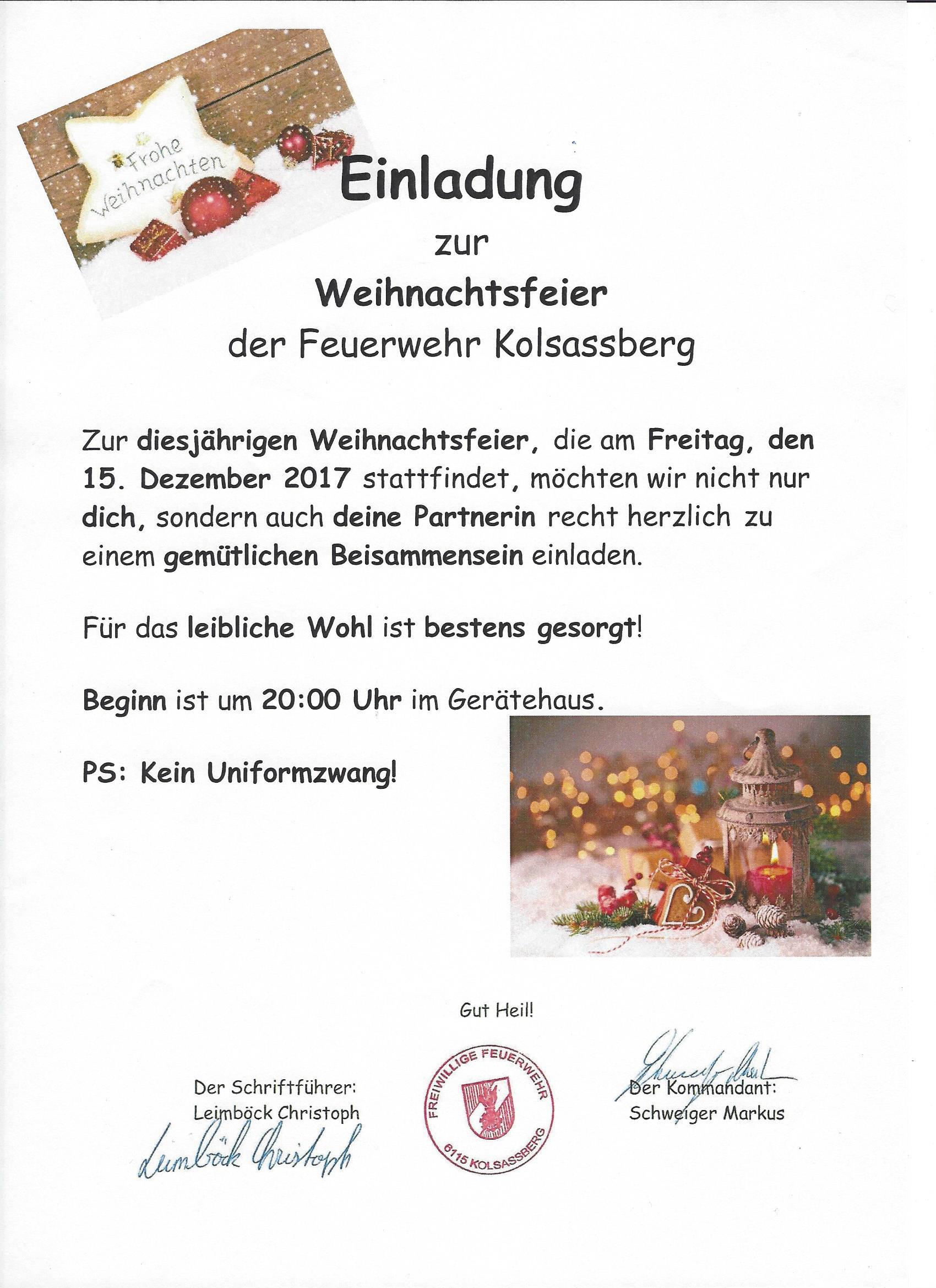 Einladung Zur Weihnachtsfeier.Einladung Zur Weihnachtsfeier Freiwillige Feuerwehr